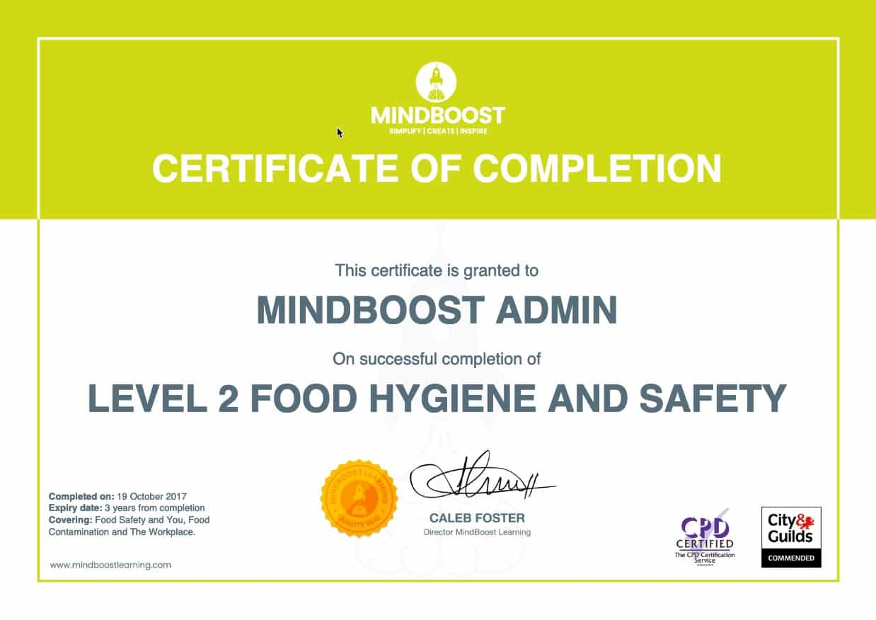 Food Hygiene & Safety Certificate