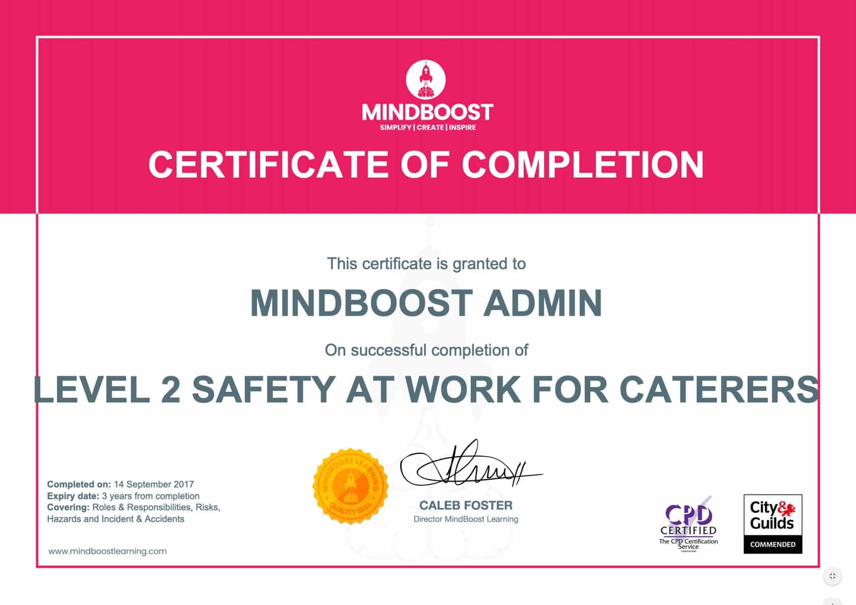 Health & Safety at Work for Caterers Certificate