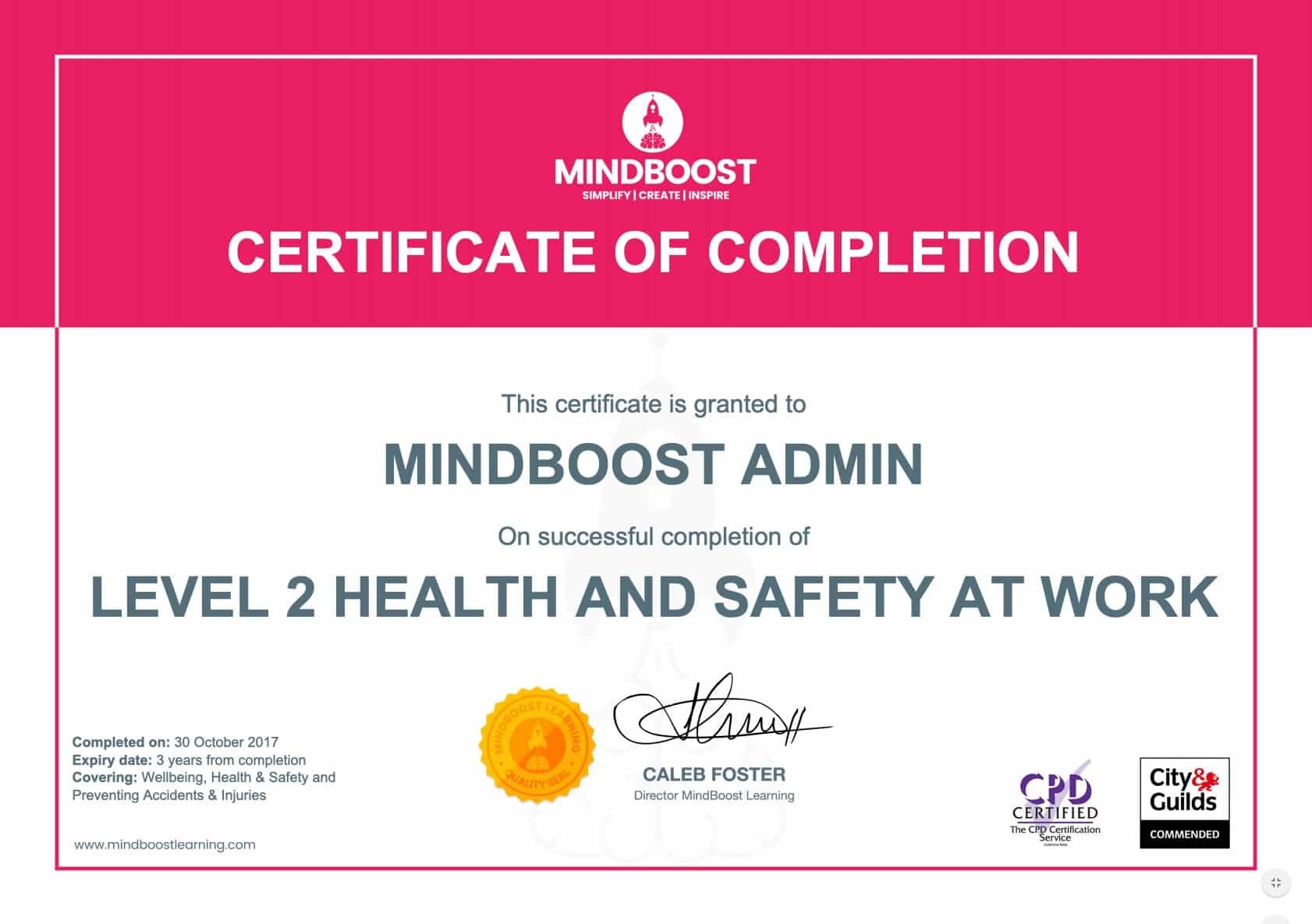 Health & Safety at Work Certificate