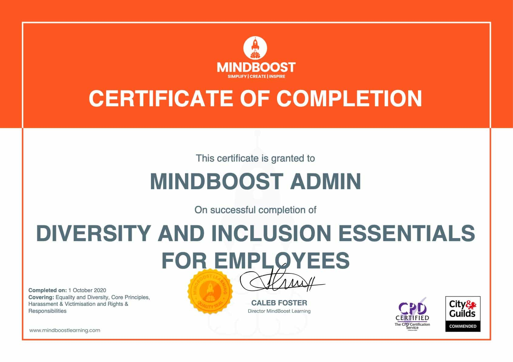 Diversity & Inclusion Certificate