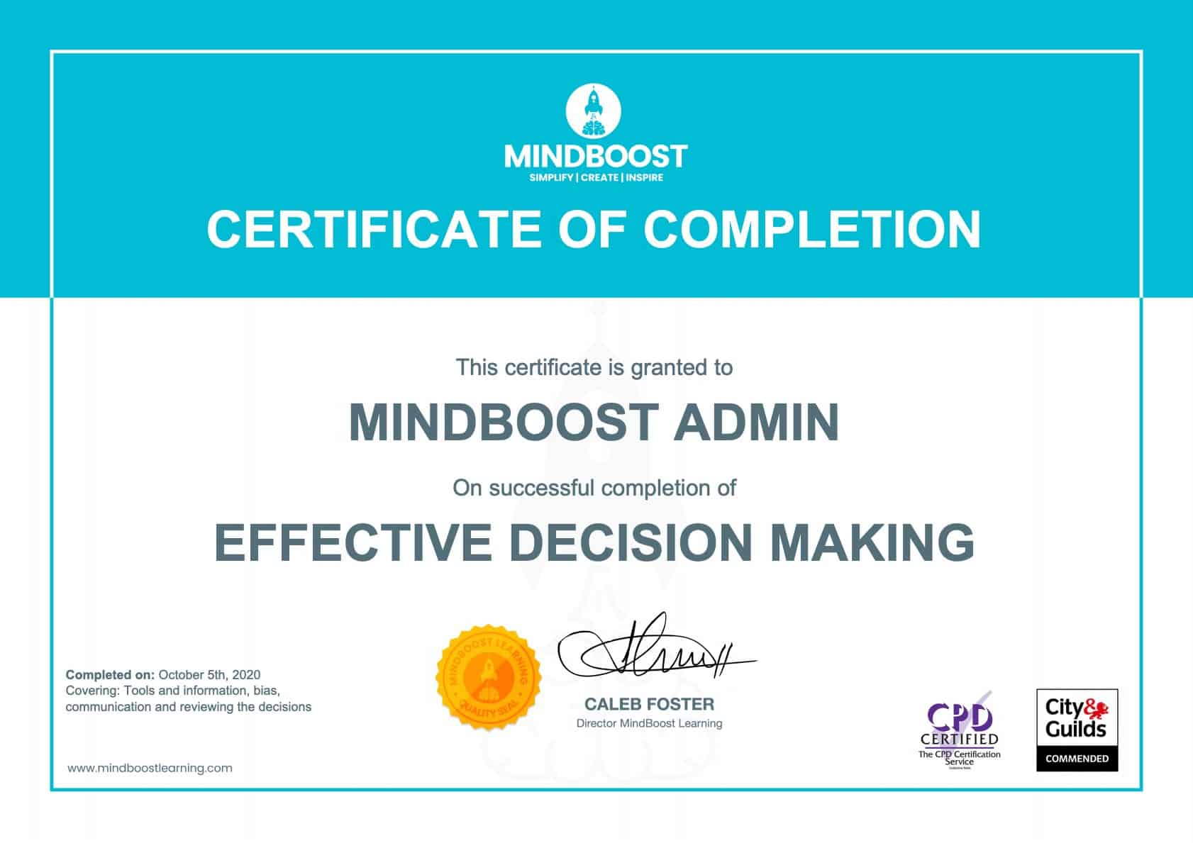 Decision-making certificate